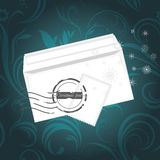 Christmas envelop on the ornamental background Royalty Free Stock Photo