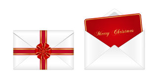 Christmas envelope and greeting card. Isolated on white background Stock Images