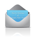 Christmas envelope with greeting card Stock Images
