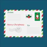 Christmas envelope for letter to Santa Claus for children, template, fun preschool activity for kids, vector illustration vector illustration