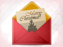 Christmas envelope. A red envelope with a letter inside and inscription merry Christmas vector illustration