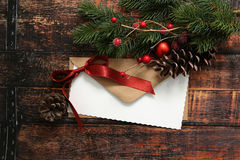 Christmas envelope with ribbon and decorations Royalty Free Stock Images