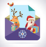 Christmas envelope with Santa Claus and deer. With gifts, color illustration for Holiday design royalty free illustration
