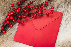 Christmas envelope with berries Stock Photo