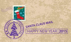 Christmas envelope with stamp Royalty Free Stock Images
