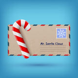 Christmas envelope and sweet candy Stock Photos