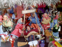 Christmas and Epiphany ornaments. Images of the Befana. In the Italian folklore, Befana is an old woman who delivers gifts to children throughout Italy on Royalty Free Stock Photography