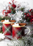 Christmas Espresso with Chocolate Cookies Royalty Free Stock Images
