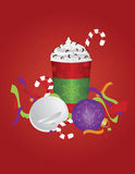 Christmas Espresso Drink To Go Cup with Background Royalty Free Stock Photo