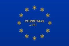 Christmas in EU flag Royalty Free Stock Photo