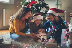The Christmas Euphoria is here. Family at home enjoys pre-Christmas holidays stock photos