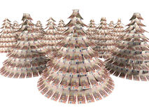 Christmas Euro. Euro notes maden as Christmas tree against white background Royalty Free Stock Photography