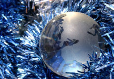 Christmas Europe. Globe showing Europe and Tinsel Stock Photo