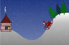 Christmas Eve. Santa Claus coming to a visit at Xmas Eve, Christmas Sleigh Royalty Free Stock Photo