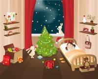 Christmas eve. Vector illustration: Christmas comes to world Royalty Free Stock Photography