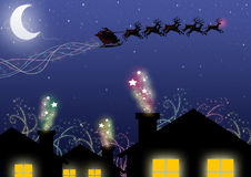 Christmas Eve. Santa rides your sledge on Christmas Eve Royalty Free Stock Image