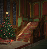 Christmas Eve. Illustration of an old hall decorated with a christmas tree Stock Photos