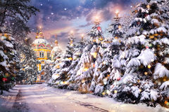 Christmas eve. Church with illuminated Christmas trees in snowfall on Christmas eve in winter time Royalty Free Stock Image