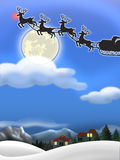 Christmas Eve. Christmas background with Santa's sleigh and reindeer in silhouette against the moon...a snowscape below with two houses, evergreen trees and