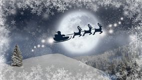 Christmas eve background, magic Christmas scene with Santa Claus in a sleigh flying with his reindeer vector illustration