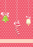 Christmas eve. Christmas background with christmas tree, little bell and sweet candy. Colored illustration. EPS 10.0. RGB. Illustration can be used as template Royalty Free Stock Image