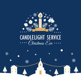 Christmas Eve Candlelight Service Invitation Card. Christmas Eve Candlelight Service Invitation Vector Card Stock Images