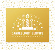 Christmas Eve Candlelight Service Invitation. Golden Foil and Dots Seamless Pattern Background. Vector Design Stock Photos