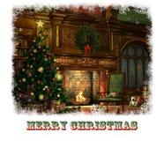 Christmas Eve Card, 3d CG royalty free illustration