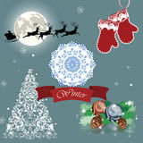 Christmas Eve card with Santa's sleigh and reindeer Stock Image
