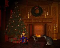 Christmas Eve Cats by the Fire. Digital render of two cats lazing in front of the fire and looking at the festive tree on Christmas Eve Stock Photography
