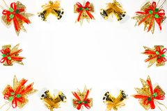 Christmas and  happy new year ribbon border. Christmas eve concept colorful ribbon border with white background Royalty Free Stock Photos