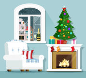 Christmas eve concept. Stylish graphic room interior. Armchair, christmas tree, fireplace and window with winter landscape. Flat style vector illustration Stock Photography