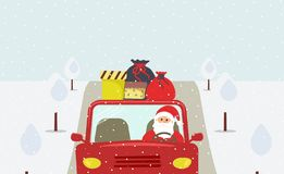 Christmas eve: cute Santa Claus is going to a holiday in a red car stock illustration