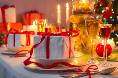 Christmas Eve dinner by candlelight Royalty Free Stock Photo