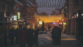 Christmas Eve Downtown stock video footage