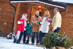 Christmas eve -family, gifts, holiday, season and people Royalty Free Stock Photography