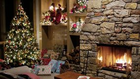 Christmas eve in family room stock video footage