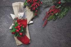 Christmas Eve Festive Table Place Setting Stock Images
