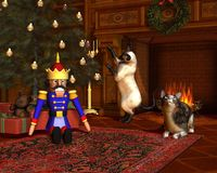 Christmas Eve by the Fireside. Two cats in front of the fire with festive tree and presents on Christmas Eve, 3d digitally rendered illustration Stock Photos