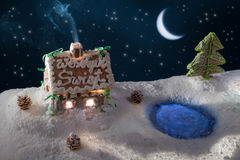 Christmas eve in the gingerbread home Stock Photography