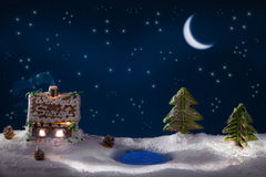 Christmas eve in the gingerbread village royalty free stock photography