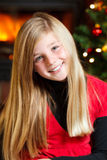 Christmas eve - girl smiling Royalty Free Stock Photos