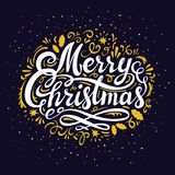 Christmas Eve greeting card inscription. Illustration with Merry Christmas inscription, hand lettering and decoration. Gold elements on dark night background Royalty Free Stock Photos