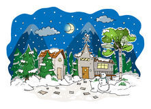 Christmas Eve. A hand drawn vector illustration of a peaceful Christmas eve Stock Image