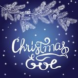 CHRISTMAS EVE hand lettering. Handmade calligraphy. Vector illustration. Greeting card Stock Photos