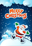 Christmas eve with happy Santa Claus and text Royalty Free Stock Image