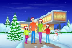 Christmas eve holiday happy family in front of. Modern house winter snow, parents with children love smile wear red new year santa hat cap, snowman and pine Stock Image