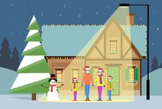 Christmas eve holiday happy family house winter Royalty Free Stock Photo