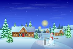 Christmas eve holiday house winter snow, snowman. And pine tree gift card vector illustration Royalty Free Stock Photos