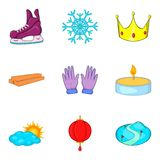 Christmas eve icons set, cartoon style Stock Images